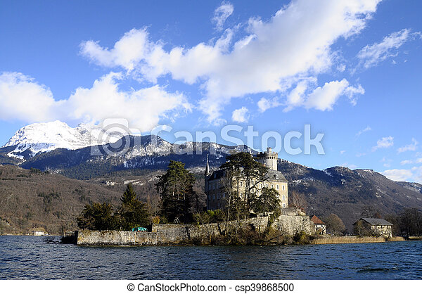 Annecy Lake and mountains - csp39868500