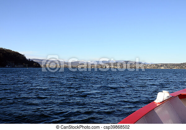 Annecy Lake and mountains - csp39868502