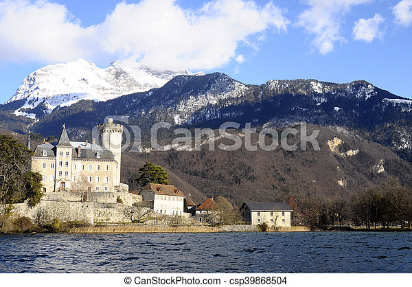 Annecy Lake and mountains - csp39868504