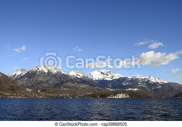 Annecy Lake and mountains - csp39868505