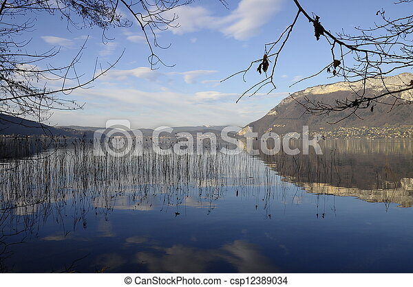 Annecy lake and mountains - csp12389034
