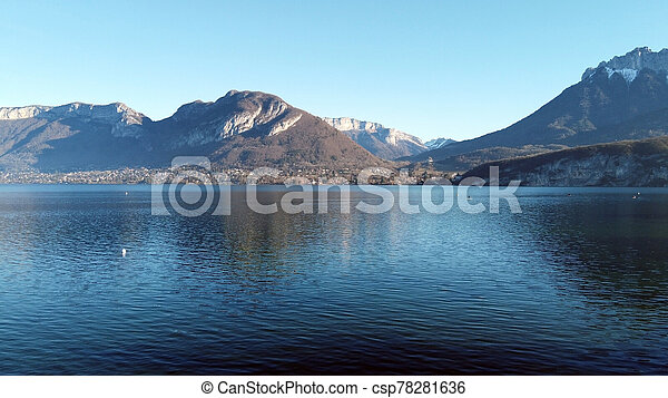 Annecy lake and mountains - csp78281636