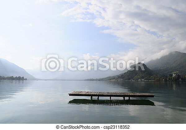 Annecy lake at Talloires, France - csp23118352