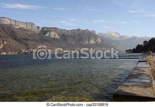 Annecy lake landscape in France - csp33108819