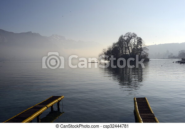 Annecy lake landscape in France - csp32444781