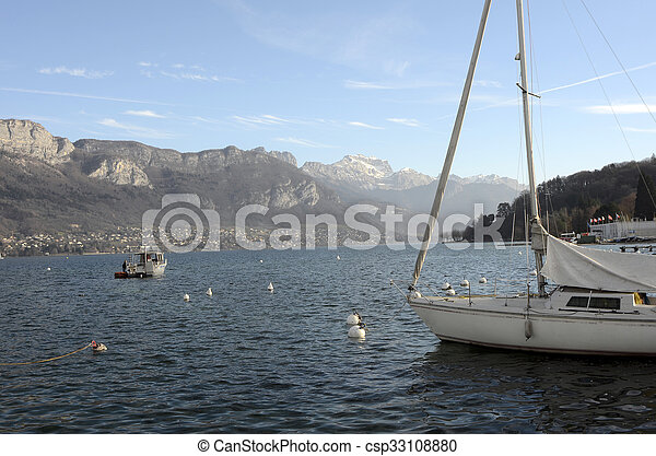 Annecy lake landscape in France - csp33108880
