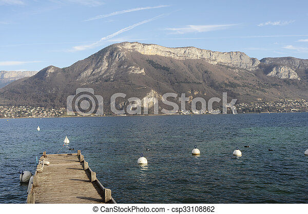 Annecy lake landscape in France - csp33108862