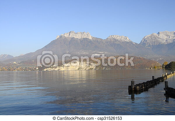 Annecy lake landscape in France - csp31526153