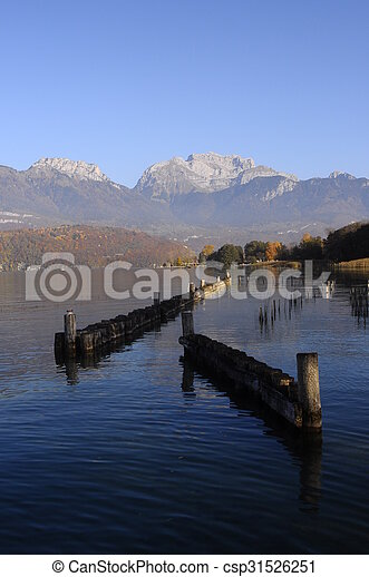 Annecy lake landscape in France - csp31526251