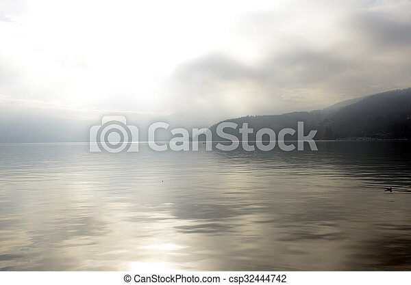 Annecy lake landscape in France - csp32444742