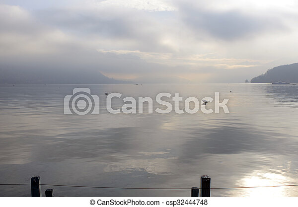 Annecy lake landscape in France - csp32444748