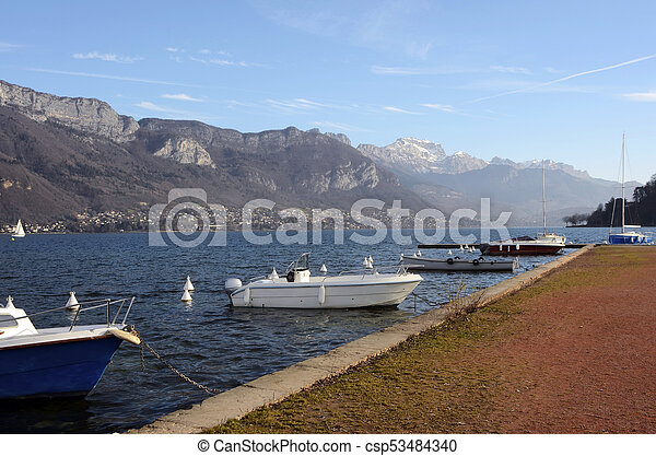Annecy lake landscape in France - csp53484340