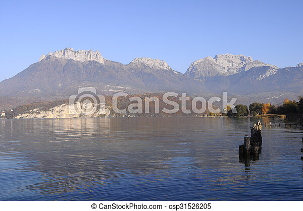 Annecy lake landscape in France - csp31526205