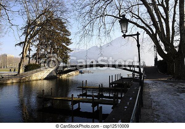 Annecy lake love bridge from city - csp12510009