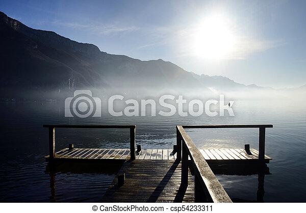 Annecy lake on morning, Savoy, France - csp54233311