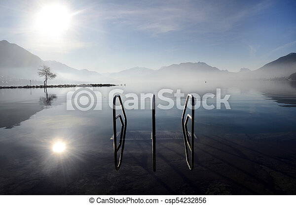 Annecy lake on morning, Savoy, France - csp54232856