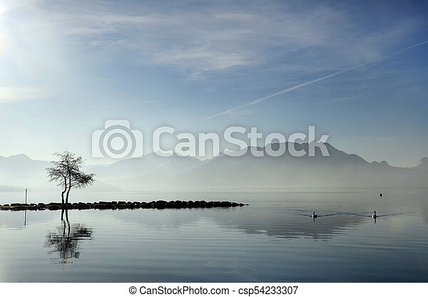 Annecy lake on morning, Savoy, France - csp54233307