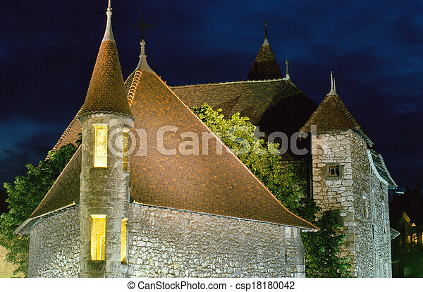 Annecy medieval town : Roofs of Old prison by night, France - csp18180042