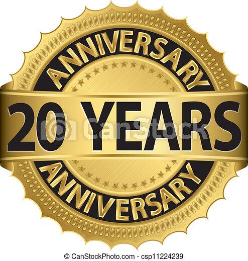 anni dorati, 20, anniversario, etichetta - csp11224239