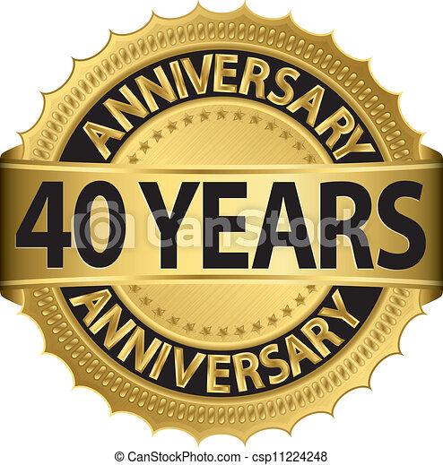 Popolare Anni dorati, anniversario, 40, etichetta. Dorato, nastro  DE18