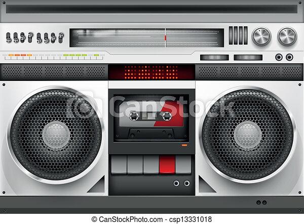 anni ottanta, vettore, boombox - csp13331018