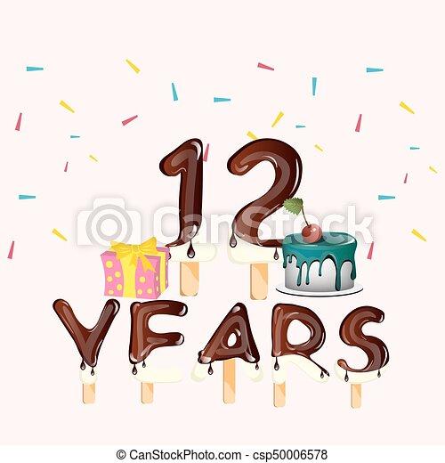 anniversaire, 12, nombre, cadeau, heureux
