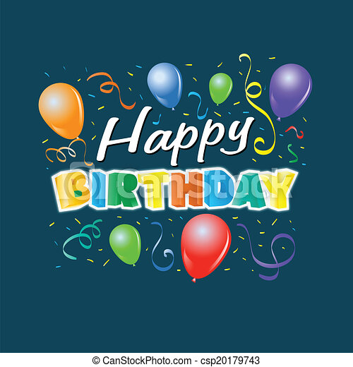 anniversaire, ballons, heureux - csp20179743