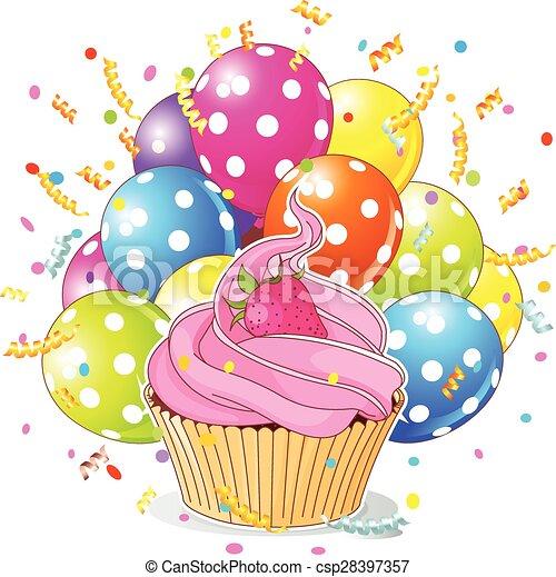 anniversaire, ballons, petit gâteau - csp28397357