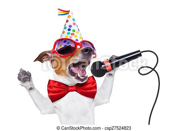 anniversaire, chien, heureux, chant - csp27524823