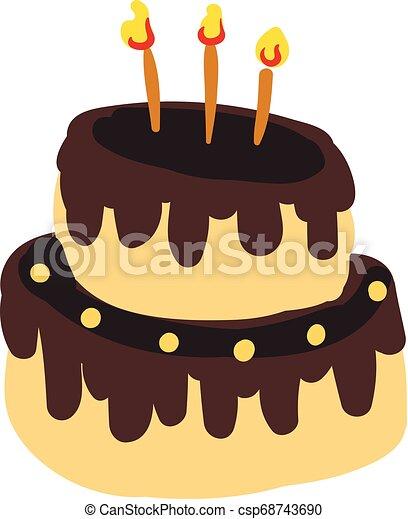 Anniversaire Couleur Bougies Two Layer Illustration Dégoutté Incandescent Vecteur Gâteau Dessin Chocolat Ou Célébration