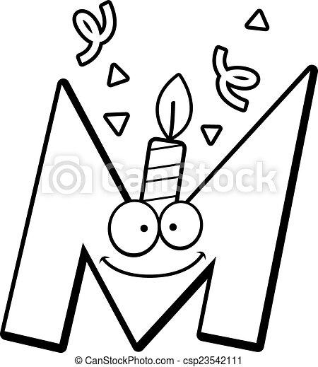 anniversaire, m, dessin animé, lettre