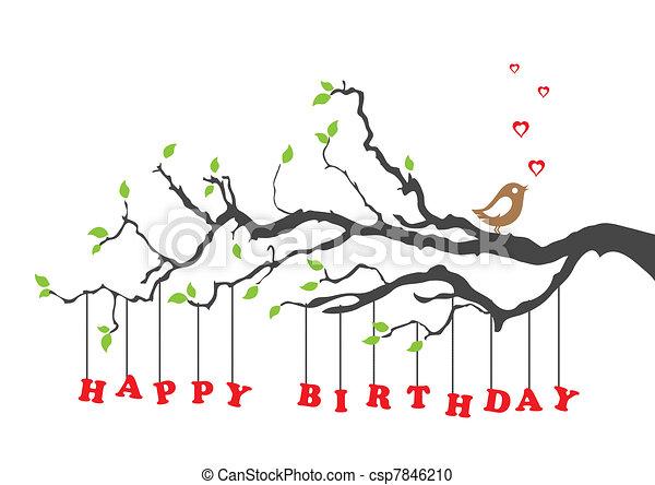 anniversaire, oiseau, carte, heureux - csp7846210