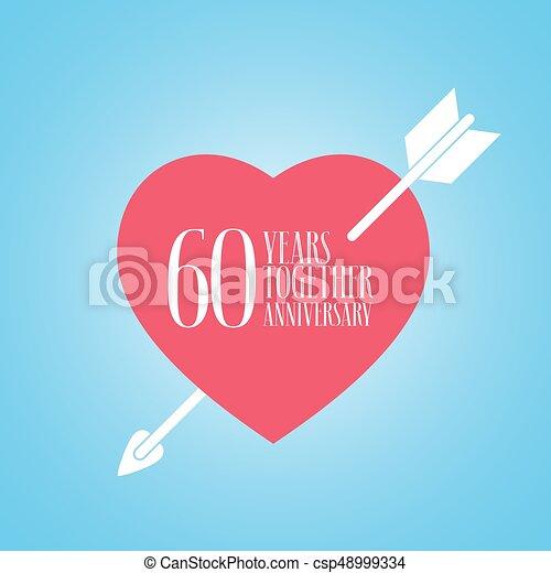 Sessantesimo Anniversario Di Matrimonio.Anniversario Illustrazione Anni 60 Vettore Matrimonio