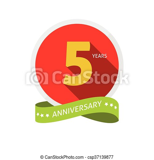 Anniversary 5th Logo Badge Template With Shadow Number 5 Five 5th