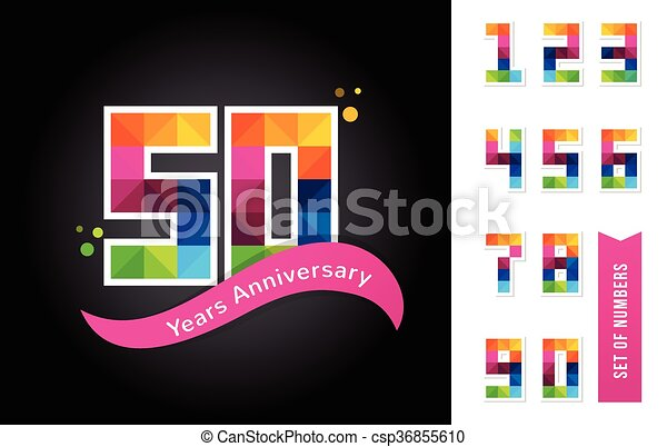 anniversary - abstract colorful icons and elements set - csp36855610