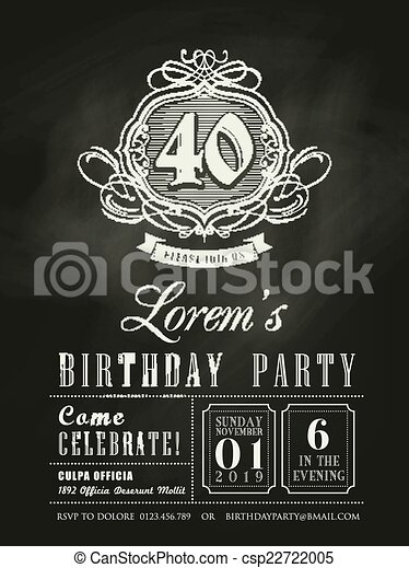 Anniversary Birthday Invitation Card Chalkboard Background Vector - Birthday invitation card eps