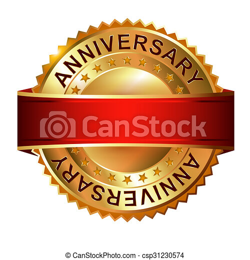 Anniversary golden label with ribbon. - csp31230574