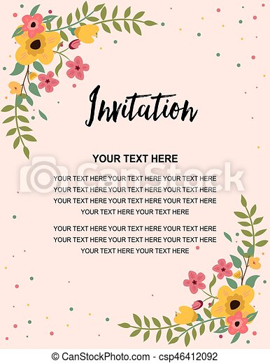 Anniversary Party Invitation Card Template Colorful Floral Illustration Vector Design