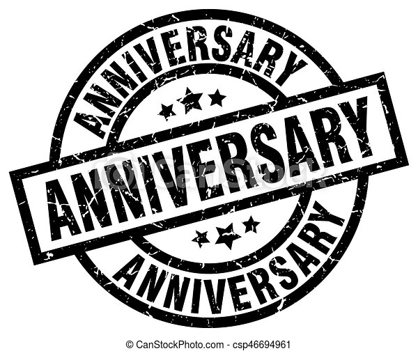 anniversary round grunge black stamp - csp46694961