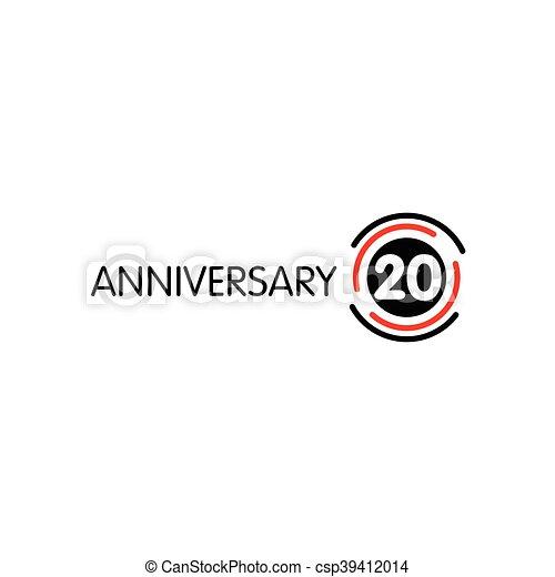 Anniversary Vector Unusual Label Twentieth Anniversary Vector