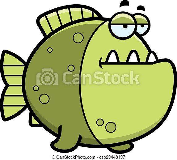 annoiato, cartone animato, piranha - csp23448137