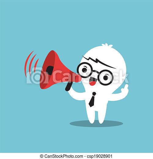annonce, business, faire, caractère, porte voix, dessin animé - csp19028901