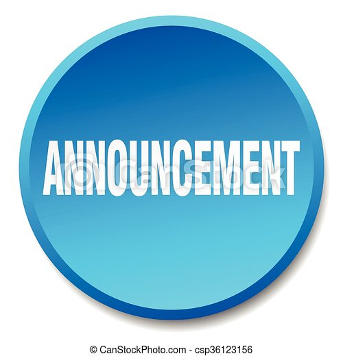 announcement blue round flat isolated push button - csp36123156