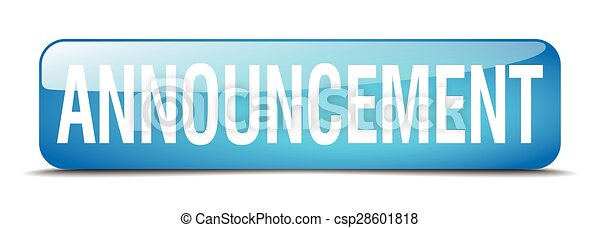 announcement blue square 3d realistic isolated web button - csp28601818