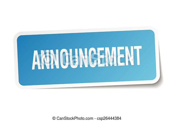 announcement blue square sticker isolated on white - csp26444384