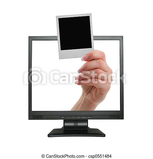 announcement coming out from LCD screen - csp0551484