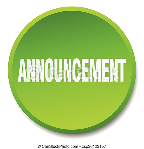 announcement green round flat isolated push button - csp36123157