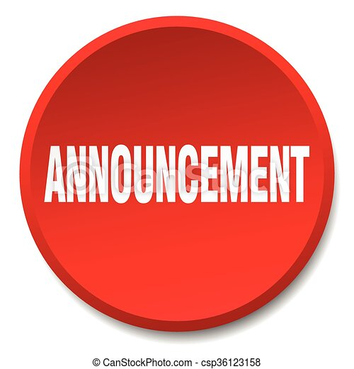 announcement red round flat isolated push button - csp36123158