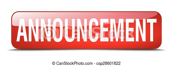 announcement red square 3d realistic isolated web button - csp28601822