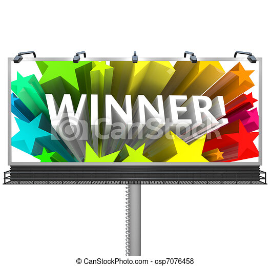 Announcing the Winner on a Huge Billboard for Top Prize - csp7076458